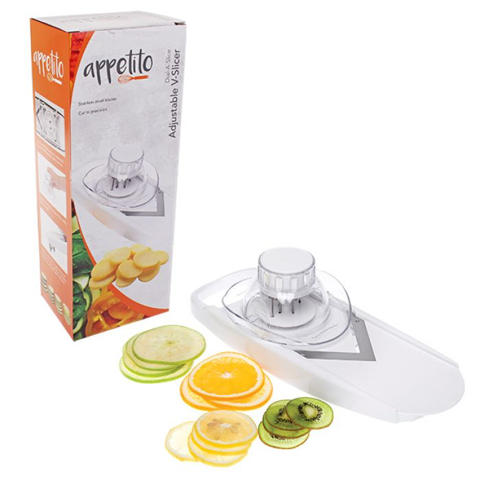 APPETITO DIAL-A-SLICE ADJUSTABLE V-SLICER - WHITE