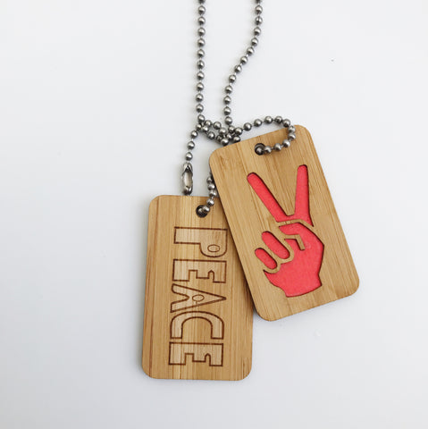 Bamboo DogTags - Peace Fingers