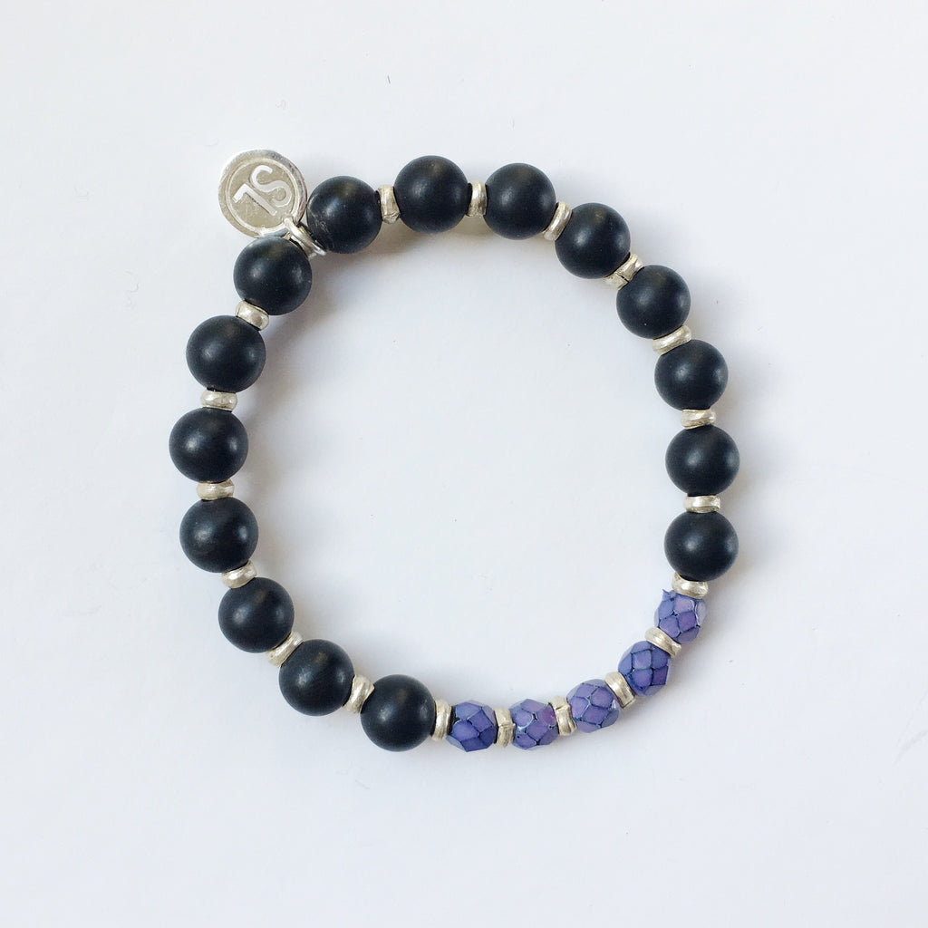 Onyx bracelet with South African beads - purple