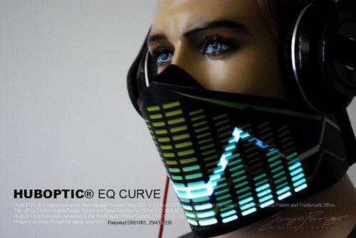 HUBOPTIC® Original Sound Reactive Equalizer Mask - Futuristic Bandana Mask EQ Curve Light Up Mask Sound Reactive Cyborg Cosplay DJ gigs tron Costume Cosplay