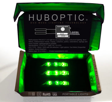 HUBOPTIC® Sound Reactive Green 9 LED (10mm) Split 3 to 1 - Cosplay DIY lights, Projects & Costumes