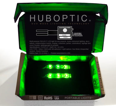 HUBOPTIC® Sound Reactive Green 6 LED (10mm) Split 2 to 1 - Cosplay DIY lights, Projects & Costumes