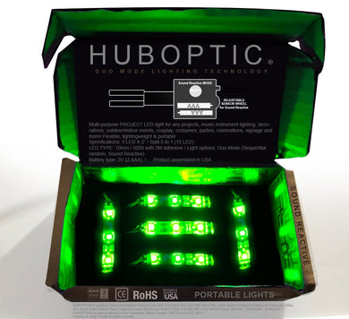 HUBOPTIC® Sound Reactive Green 15 LED (10mm) Split 5 to 1 - Cosplay DIY lights, Projects & Costumes