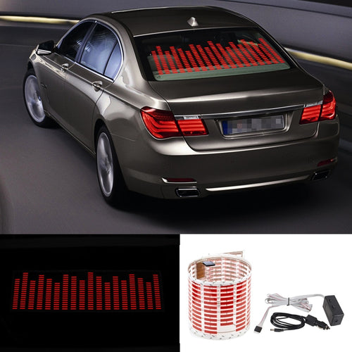 EQ Car LED Music Rhythm Flash Light Fire Red Sound Activated Sensor Equalizer Rear Windshield Sticker Styling Neon Lamp