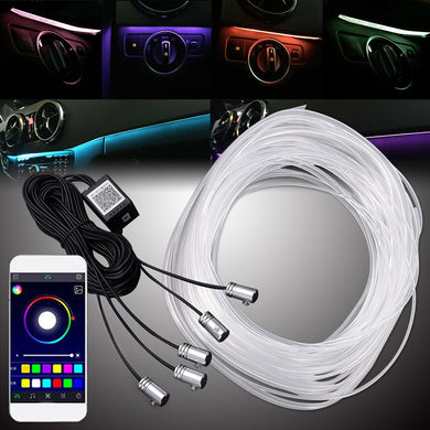5 in 1 - 6M Sound Active EL Neon Strip Light RGB LED Car Interior Light Multicolor Bluetooth Phone Control Atmosphere Light 12V