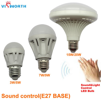 Clap Power Switch Sound+Light Sensor Light Smart Body Detection Led 3W 5W 7W 9W 15W 20W Voice Activated Intelligent LED Sensor Lamp Cold White