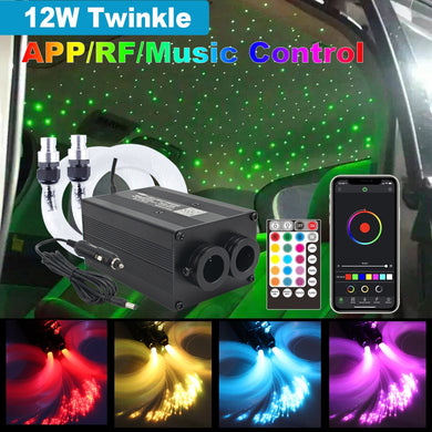 NEW LED Fiber Optic Lights Bluetooth APP Control 12W Twinkle Music Control Car Roof Light Sound Active Starry Sky Lights