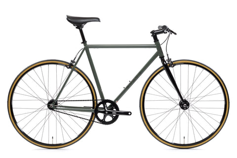 "State Bicycle Co. - 4130 -  Army Green - Riser Bars - ""Lo-Pro"" Wheels - Single Speed / Fixed"