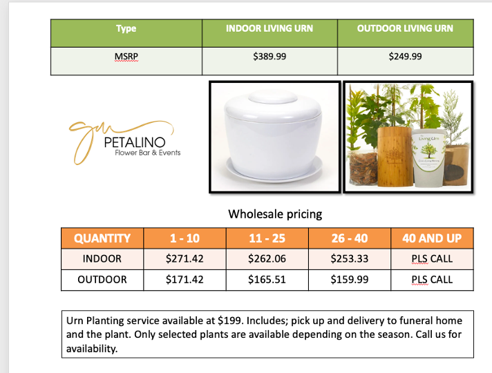 The living urn wholesale pricing