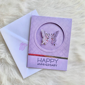 Happy Anniversary - Petalino design handmade cards - Purple Butterfly