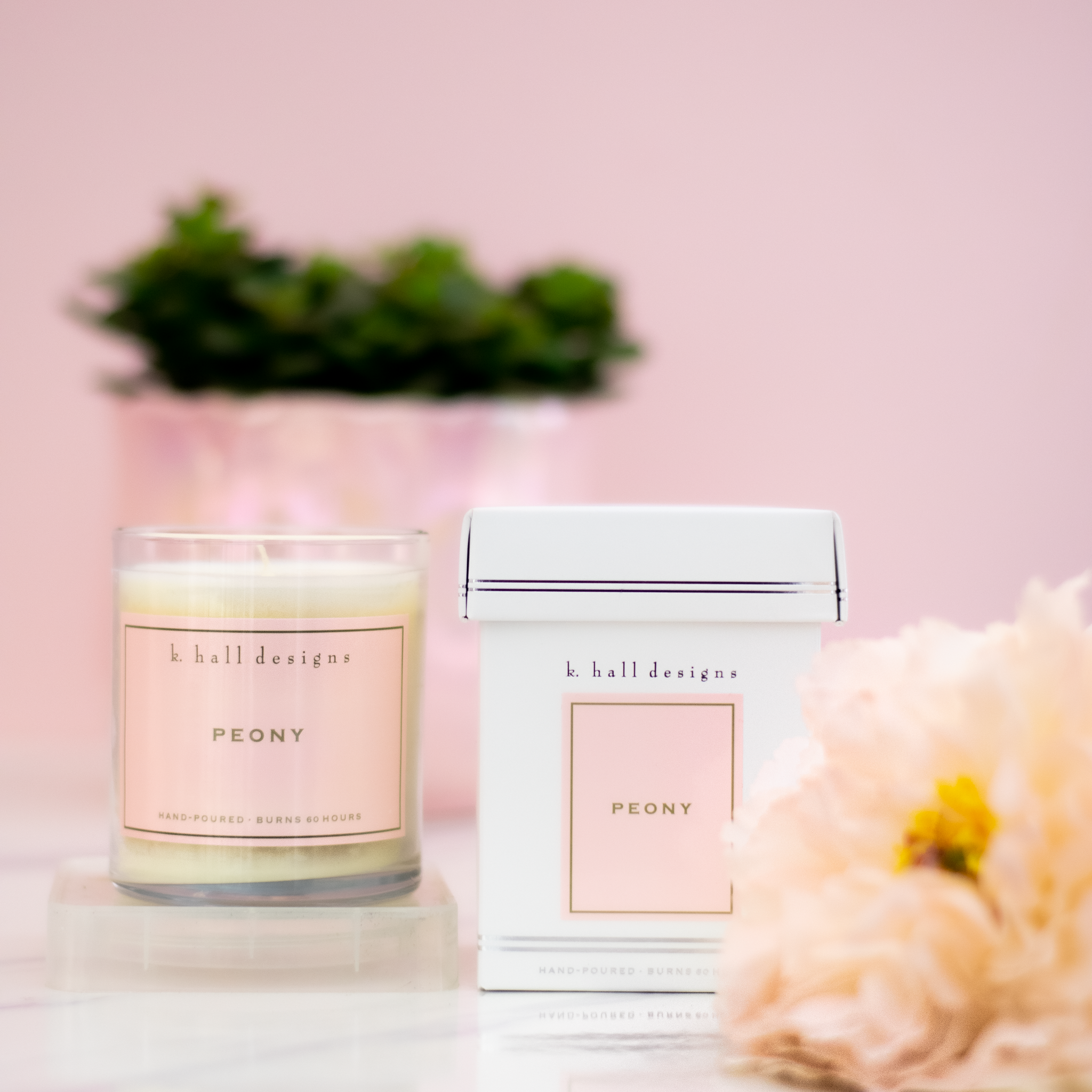 K.HALL Design 60 Hour Candles - Peony