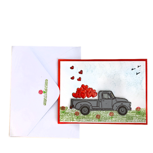 Handmade Greeting card - Love truck  - Valentines Day Petalino Flower Bar & Events