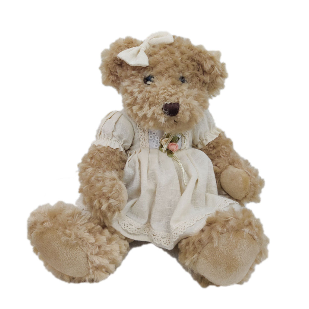 Super soft plush toy Teddy Bear with a pink/white dress
