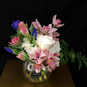 Pink and blue orchid tulip and Iris arranged in a fish bowl-Petalino Flower Bar