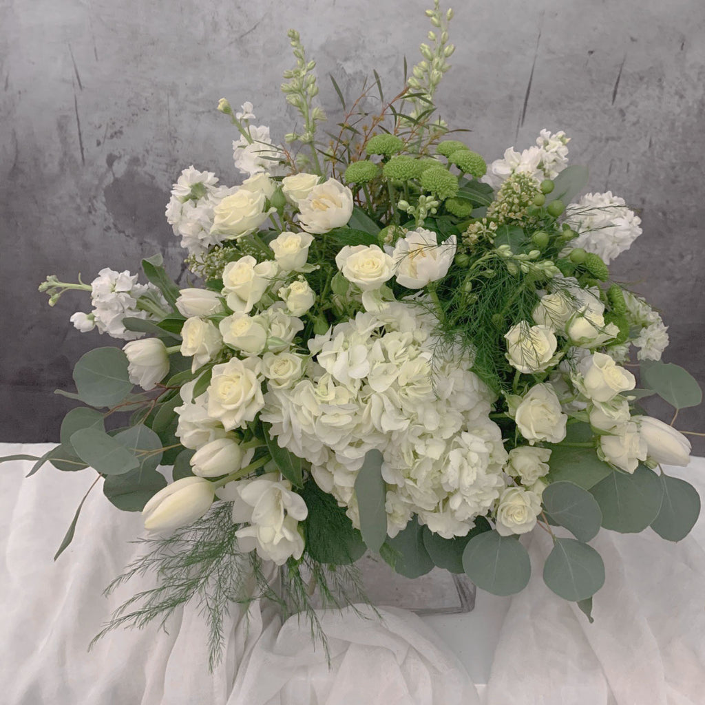 White & Green garden look Vase arrangement by Petalino Flower Bar & Events