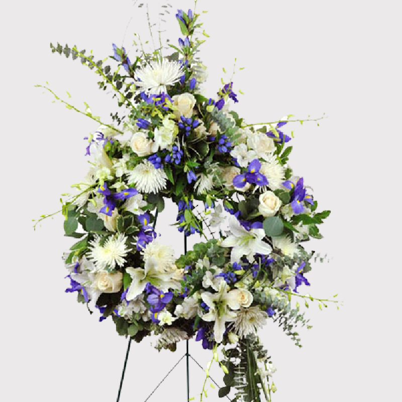 PURPLE AND WHITE LARGE FUNERAL SPRAY