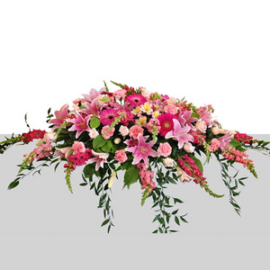STARGAZER LILY WITH VARIETY OF HOT PINK AND LIGHT PINK FLOWERS CASKET SPRAY