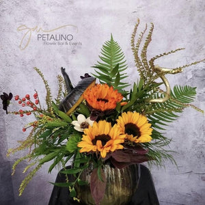 Gold painted pumpkin sunflower arrangement | delivery North vancouver
