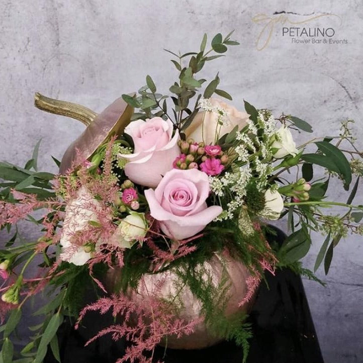 Rose Gold Pumpkin Flower Arrangement | delivery north vancouver | Petalino Flower Bar & Events