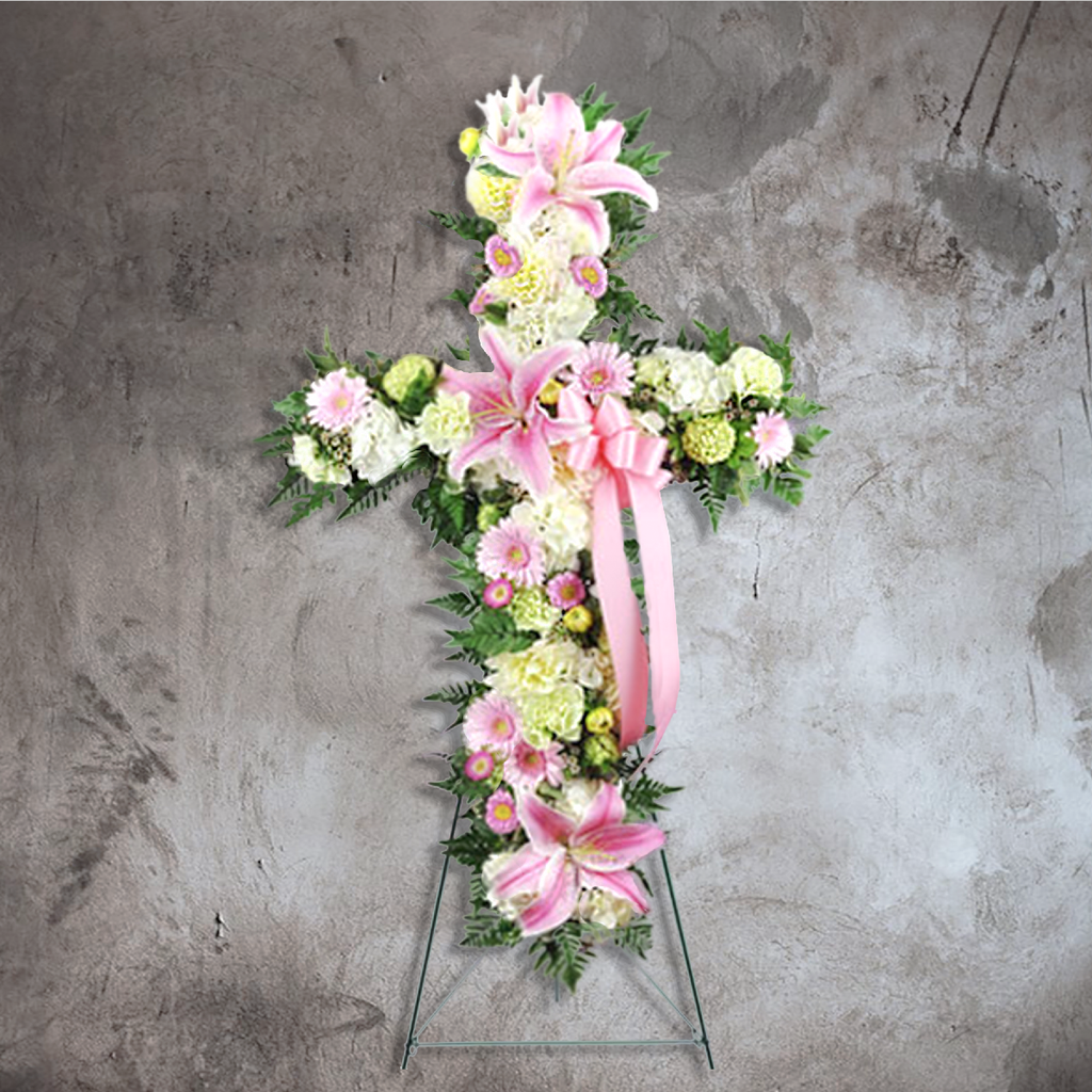 PINK CROSS SPRAY WITH STARGAZER LILY