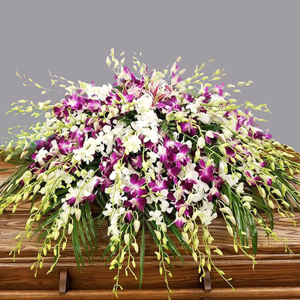 ALL DENDROBIUM ORCHID WHITE AND PURPLE CASKET SPRAY