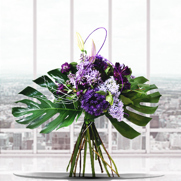 WP-209 TROPICAL PURPLE BOUQUET - Petalino Flower Bar & Events