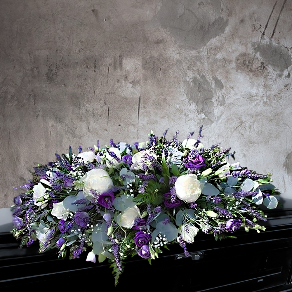 PASTEL PURPLE CASKET SPRAY WITH PEONY AND LAVENDER