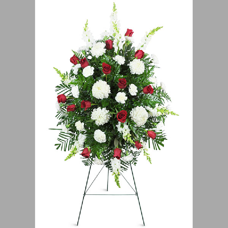 RED AND WHITE FUNERAL STANDING SPRAY