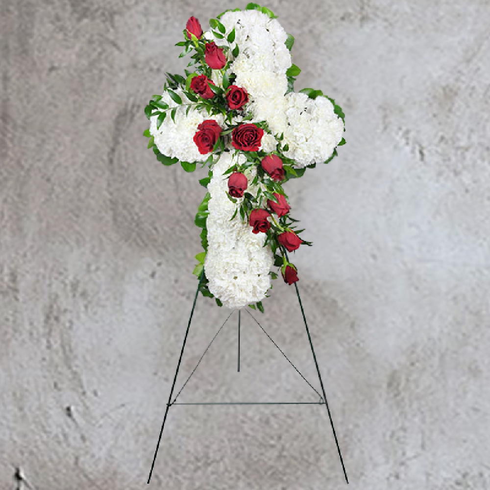 STANDING RED & WHITE CROSS SPRAY