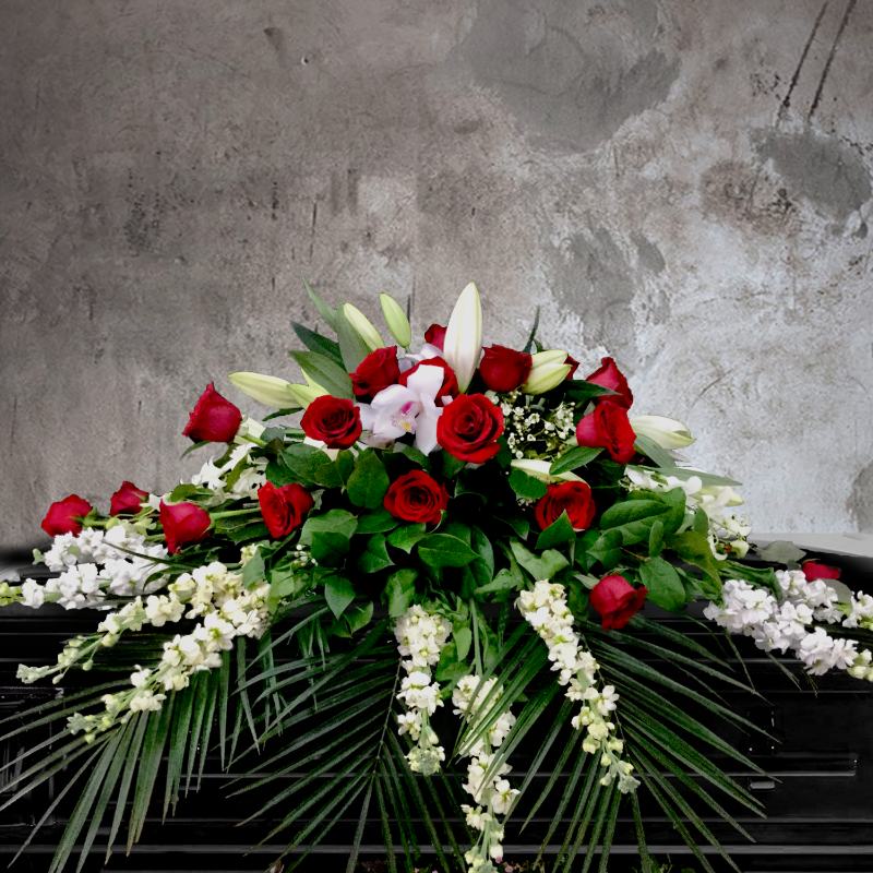 ELEGANT RED ROSE AND WHITE ORCHID FUNERAL CASKET SPRAY