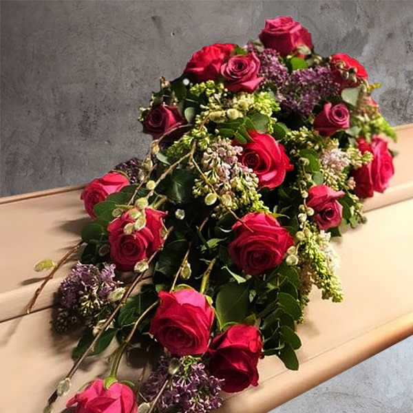 SMALL CASKET BOUQUET WITH ROSE AND PURPLE STOCK