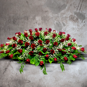 RED ROSE AND BABY'S BREATH LARGE CASKET SPRAY