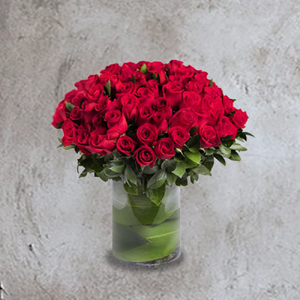 ALL RED ROSES MODERN VASE ARRANGEMENT