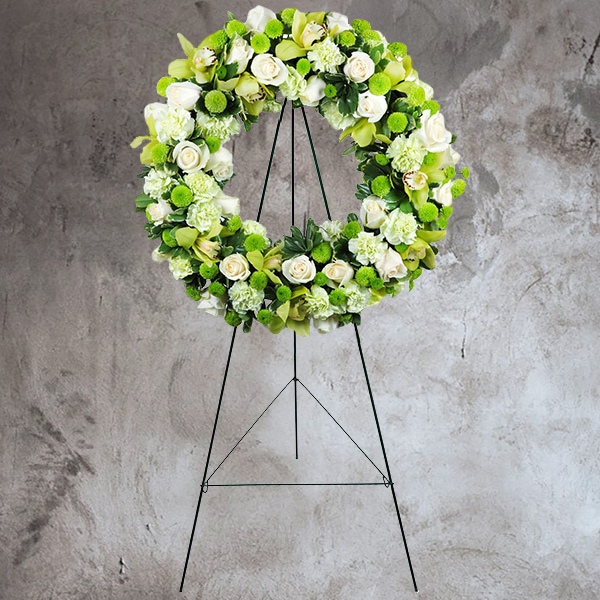 GREEN & WHITE FUNERAL ROSE & ORCHID WREATH