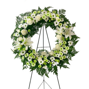 Green and white round wreath spray | Petalino Flower Bar & Events | Delivery