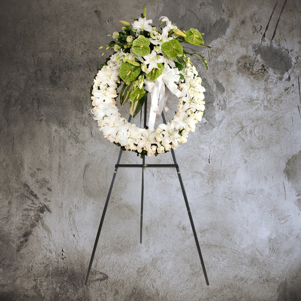 GREEN ANTHURIUMS AND WHITE LILIES FUNERAL WREATH
