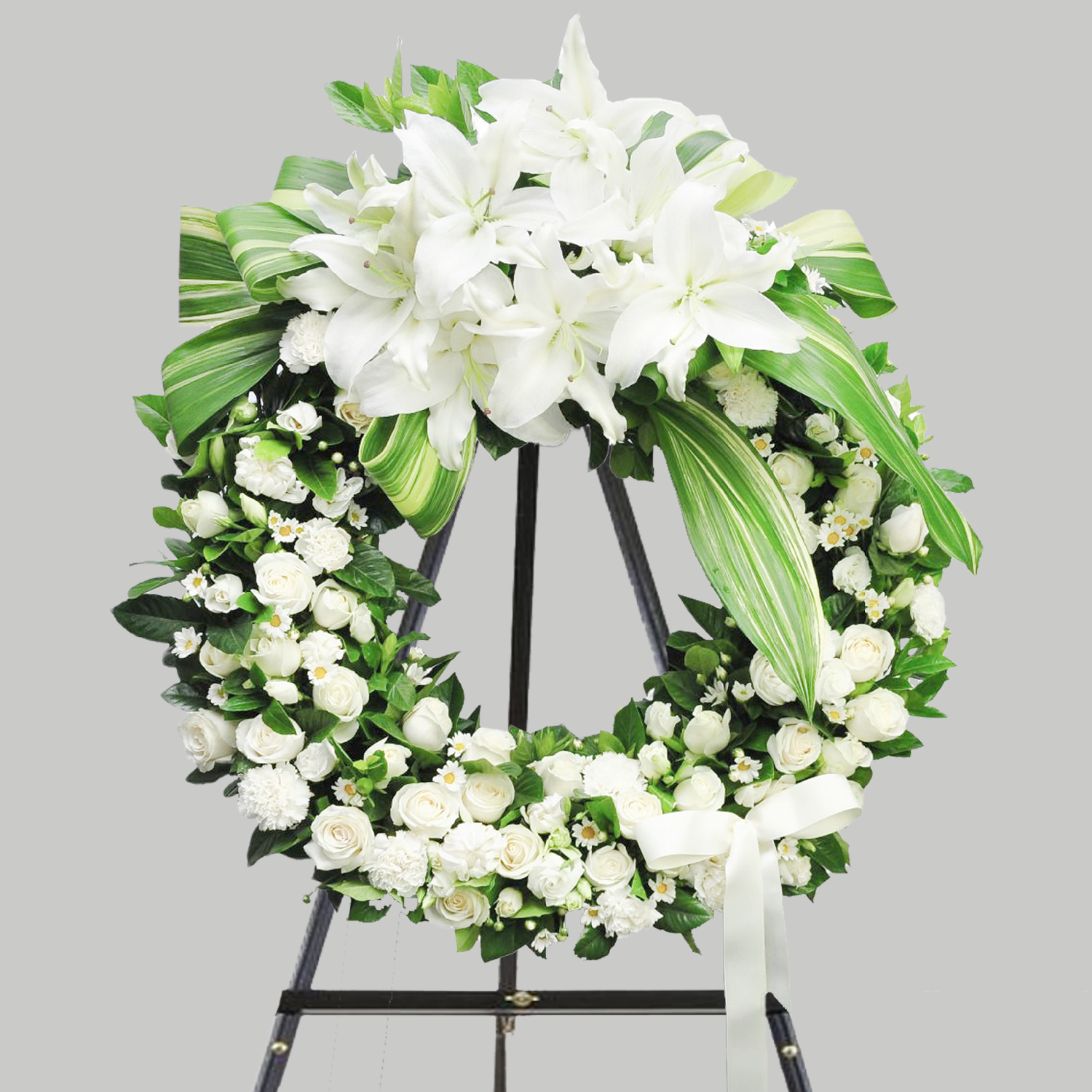 MODERN WHITE FUNERAL WREATH