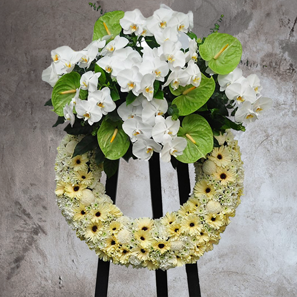 MODERN PASTEL FUNERAL WREATH WITH ORCHID