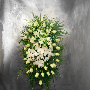 TALL LARGE FUNERAL SPRAY WITH LOTS OF ORCHIDS