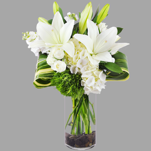 MODERN WHITE AND GREEN TALL VASE ARRANGEMENT