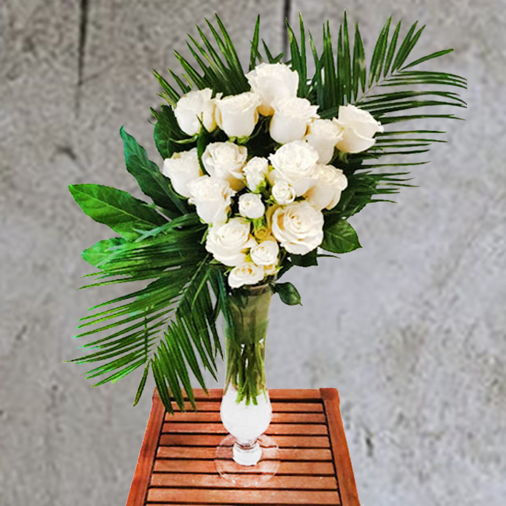 TALL WHITE ROSE FLORAL ARRANGEMENT