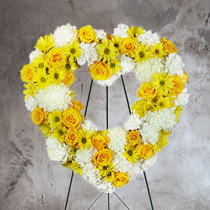 YELLOW ROSES AND WHITE MUMS FUNERAL HEART SPRAY