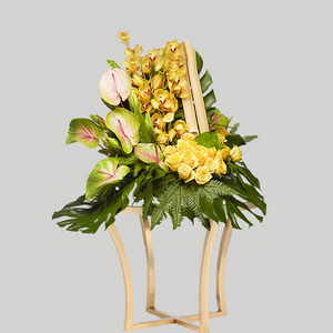 MODERN YELLOW FLORAL BASKET WITH ANTHURIUM ORCHID AND ROSES