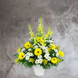 YELLOW AND WHITE BASKET OF FLOWERS