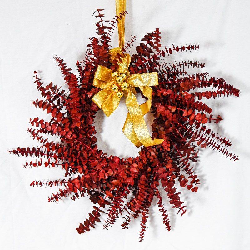 XMAS-1307 All seasons tinted eucalyptus wreath - red