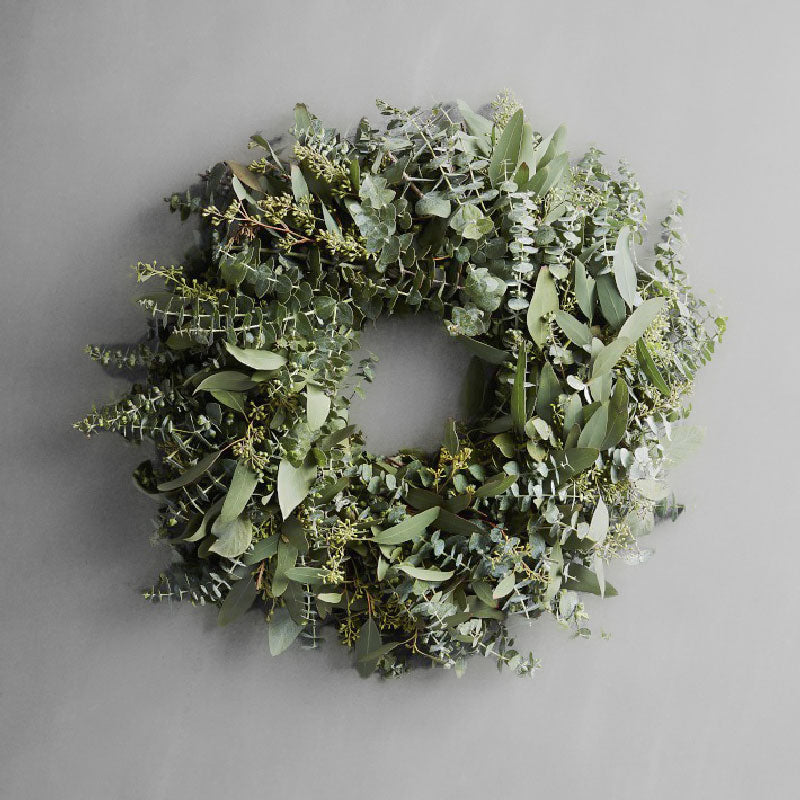 XMAS-1311 Fresh green seeded and baby blue eucalyptus christmas wreath