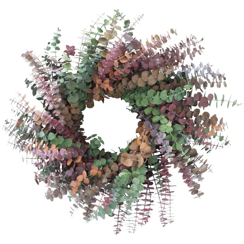XMAS-1312 Tinted eucalyptus Christmas wreath - green, pink and orange