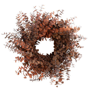 XMAS-1313 Tinted eucalyptus Christmas wreath - orange and brown