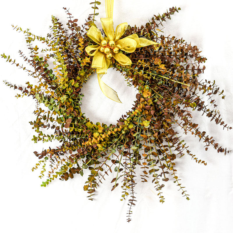 XMAS-1345 ALL SEASONS TINTED EUCALYPTUS WREATH - ORANGE, GREEN AND BROWN