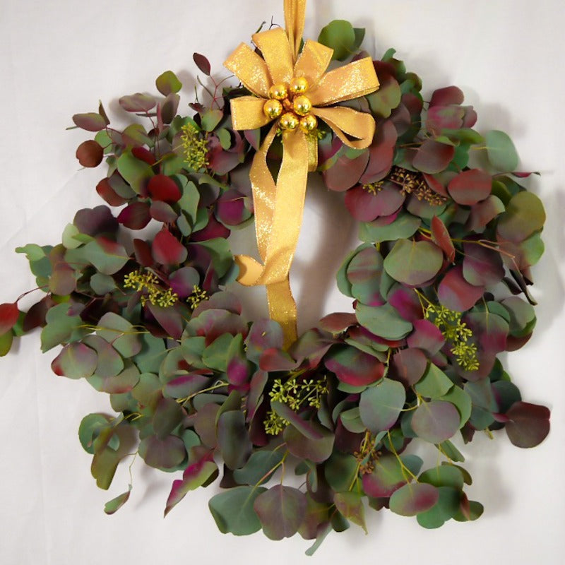 XMAS-1349 WREATH - ALL SEASONS TINTED RED SILVER DOLLAR EUCALYPTUS